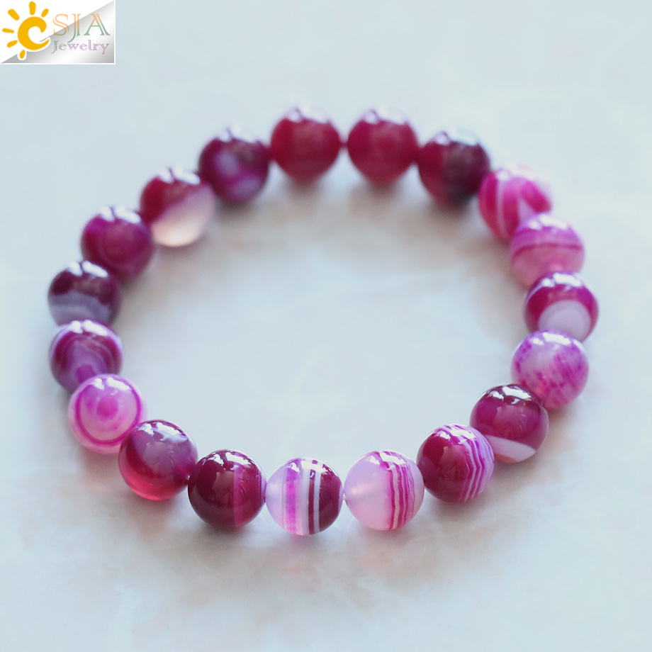 Handmade Natural Violet Agate Onyx Healing Stone Bracelets Fashion Femmes Bijoux