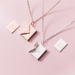 MloveAcc, Настоящее серебро 925 пробы, ожерелье с подвеской, Женский конверт, подвеска с буквами для влюбленных, лучшие подарки для девушки