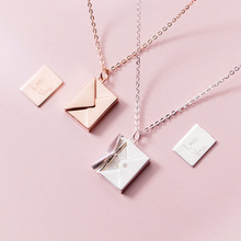 MloveAcc Genuine 925 Sterling Silver Pendant Necklace Women Envelope Lover Letter Pendant Best Gifts for Girlfriend