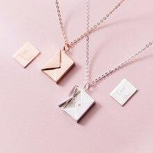 MloveAcc oryginalna 925 Sterling Silver naszyjnik kobiety koperta kochanka zawieszka w kształcie litery najlepsze prezenty dla dziewczyny