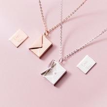 Mloveacc colar de prata pingente genuíno, colar de pingente de envelope feminino com pingente de letra, melhores presentes para a namorada 925