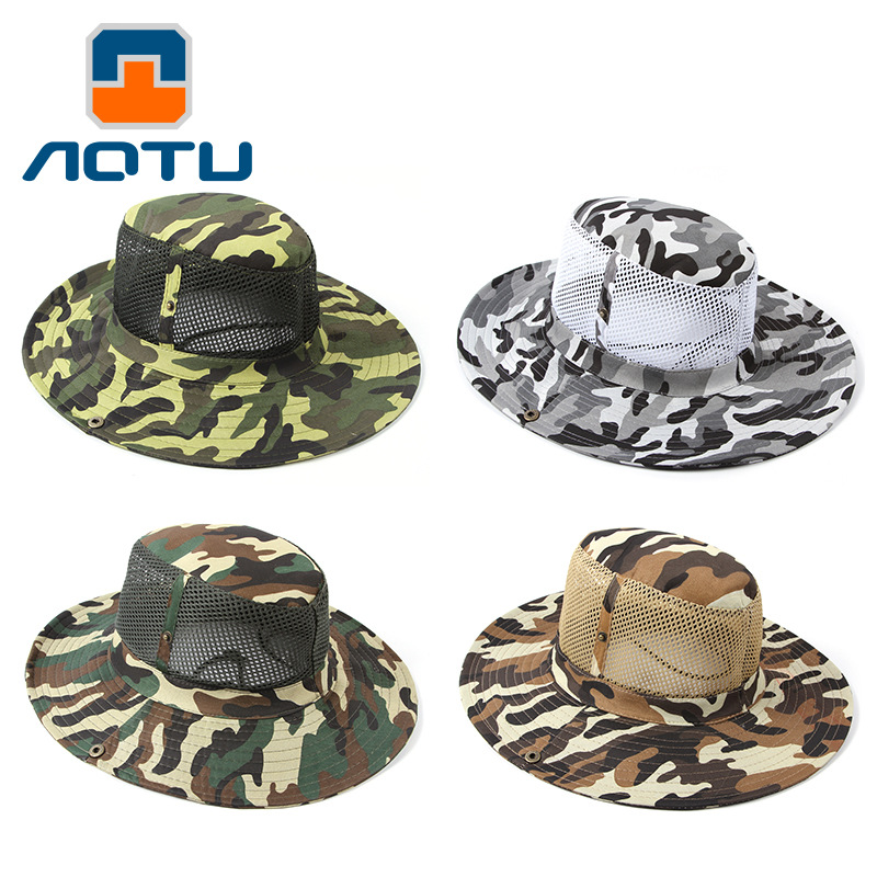 Outdoor Fishing Men Breathable Net Patchwork Camouflage Cowboy Hat Buckle Hunting Hiking Camping Caps
