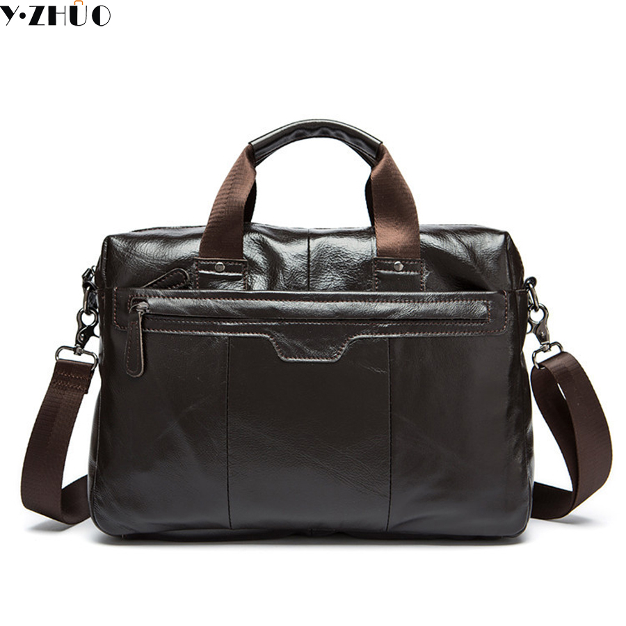 Genuine Leather bag cowhide leather Briefcase Laptop Bag Business men travel bags portfolio men messenger shoulder bag цена и фото