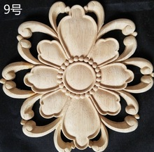 2pcs/lot  Diameter:200mm. thickness:12mm Wood carved circular flowers shaped decals Applique home decorative