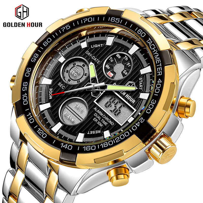 GOLDENHOUR Men's Fashion Sport Watches Men Quartz Analog Date Clock Business Backlight Week Display Stainless Steel male Watch goldenhour sport double display men wristwatch fashion casual men quartz watch led week display army alloy strap male clock