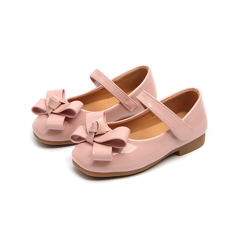 Princess Fashion Girls Shoes Big Girl PU Patent Leather Shoes Kids Flats Childrens Shoes Pink Black Red Color With Bot Tie Soft
