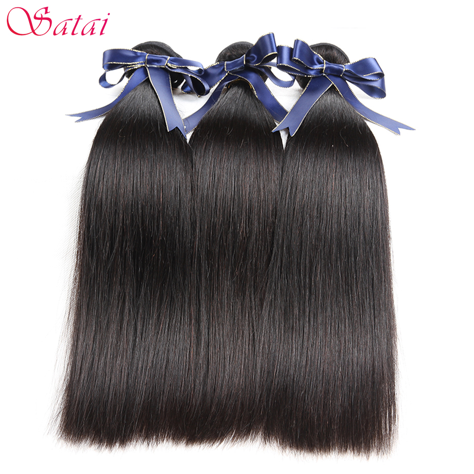Satai Straight Hair Human Hair 3 Bundles Brazilian Hair Weave Bundles 8 28inch Natural Color Non