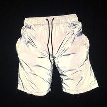 ผู้ชายลำลองสะท้อนแสงเต็มรูปแบบ hip hop กางเกงขาสั้น night club สั้นกางเกงกีฬาผู้ชายแฟชั่น shiny กางเกงขาสั้นเบอร์มิวดา masculino 3XL