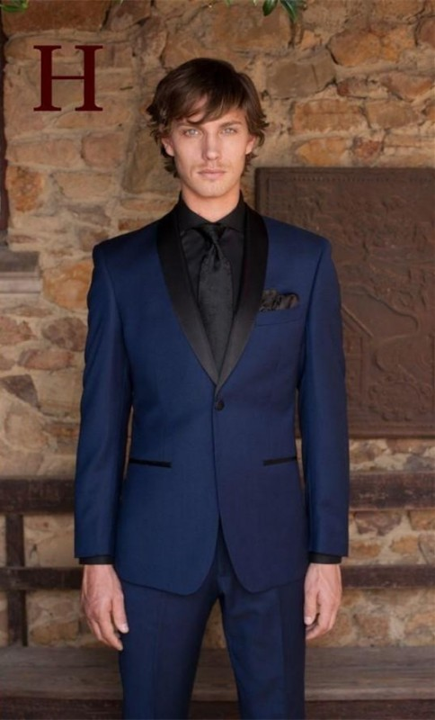 New Handsome Blue Wedding Suit for Men Black Shawl Lapel Groom Tuxedos (Jacket+Pants+tie ...