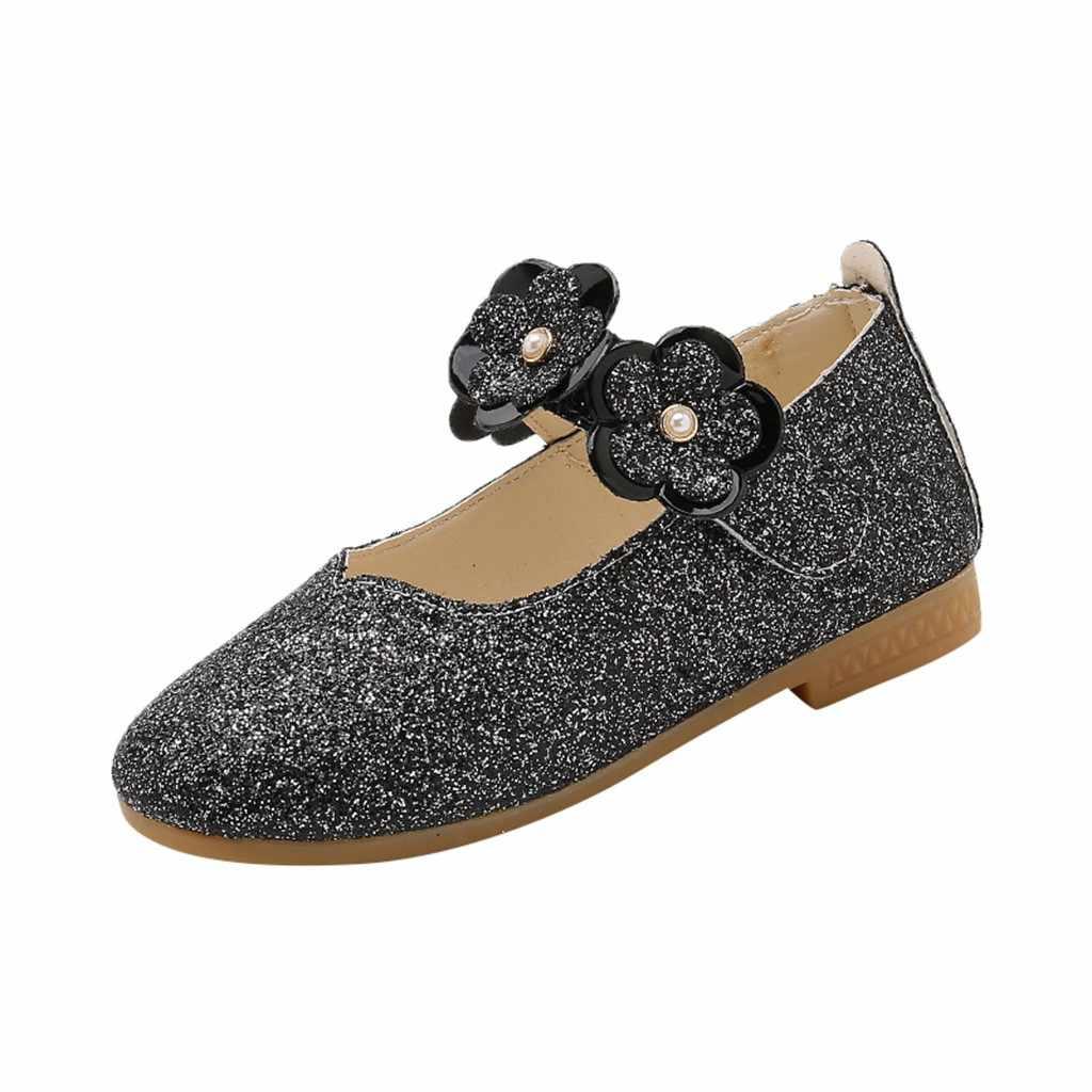 Fête des enfants mode sandales filles fleurs paillettes princesse chaussures filles PU matériel Velcro sandales toute la saison 2019 nouveau