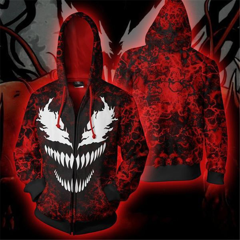 Venom Spider-Man Cool Hoodie 3D Print Zipper Hoodies Funny Tops Jacket Autumn Sweatshirt Long-sleeved Hooded Pullovers Tops