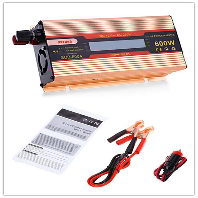 DC 12V Input 230V Output 50Hz Auto Adjust  Car Automotive Use DC to AC Pure Sine Wave Grid Tie Solar Power Inverter 600W