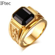 Jewelry Fashion Stainless Steel Signet Ring With Black Red stone For Men Gold color Club Party Rings Bague Anillos Us Size 8-11