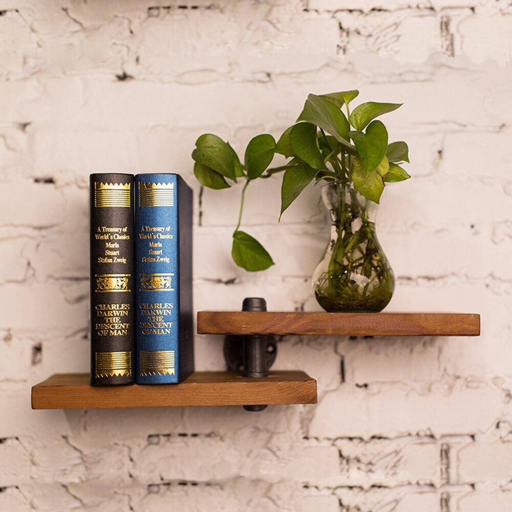 2018 nouveauté fer tuyau bois panneau livre étagère rétro Art affichage étagères bibliothèque décorative étagère pour salon