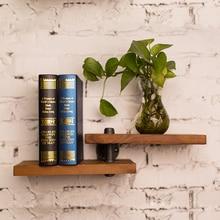 ¡Novedad de 2018! repisa de madera con Panel de hierro para libros, estantería de arte Retro para exhibiciones, estantería decorativa para sala de estar