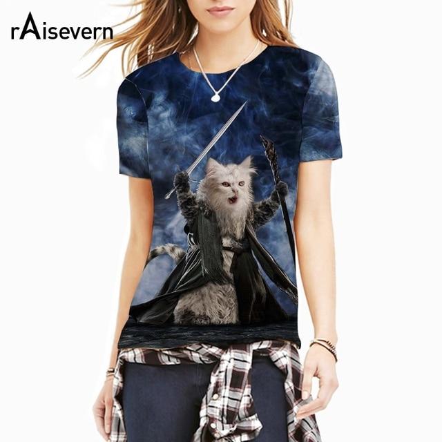 af3cf532 Raisevern New 3D T Shirt Funny Cat Print T-Shirt Necromancer Kitty Tee  Shirts Women