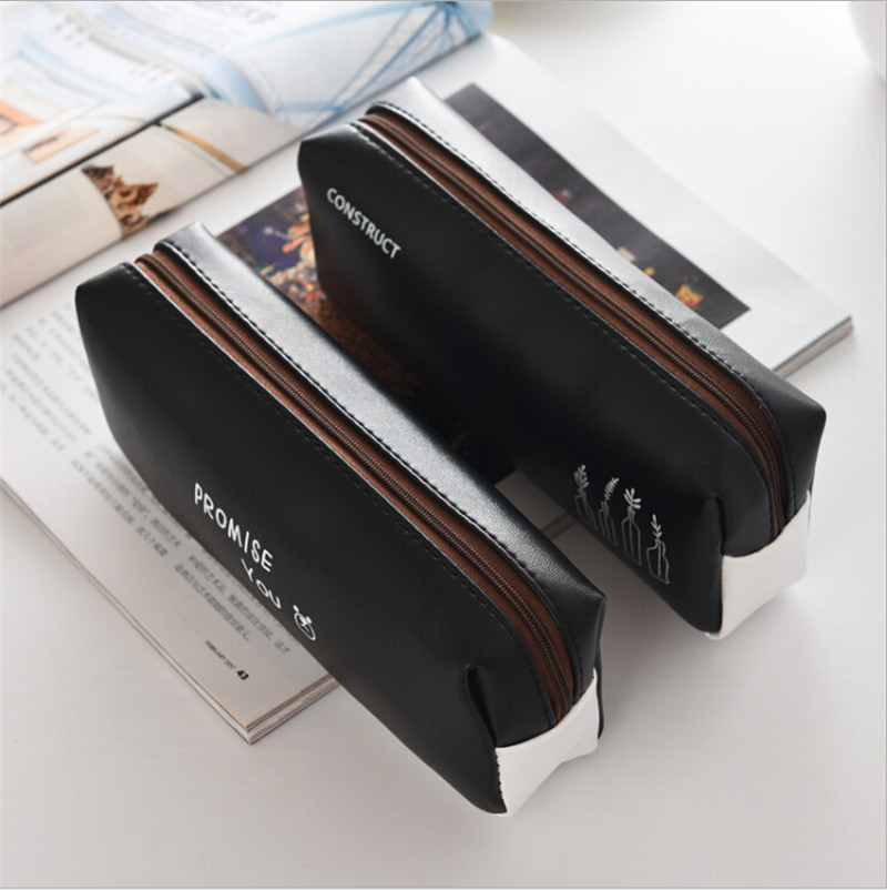 2018 Fashion Black Leather Pencil Case Box Large Pencilcase For Boys School Supplies Stationery Pen Pencil Case Bag Papelaria by Jydfxlbag