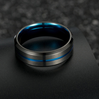 Titanium Black Brushed Effect Ring With Blue Centre Groove & Lining 1