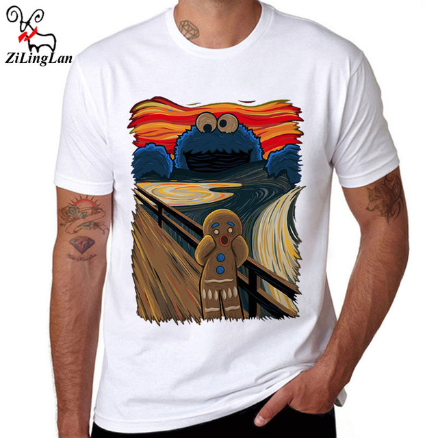 ZiLingLan Funny Cookie Monster Printed Cotton Men T shirt Short Sleeve Casual t-shirts Cookie Muncher Tees Cool Tops Us/Eur Size