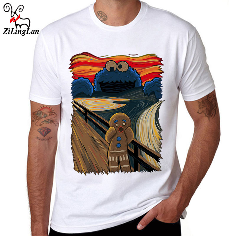 Zilinglan Funny cookie monstruo impreso algodón hombres manga corta Camiseta casual camisetas muncher de la galleta Camisetas Tees fresco Tops US/ tamaño EUR