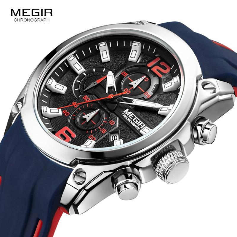 цена Megir Men's Sports Quartz Watches Blue Silicone Strap Analogue Chronograph Wristwatch for Man Luminous Hands Calendar 2063GBE-1 онлайн в 2017 году