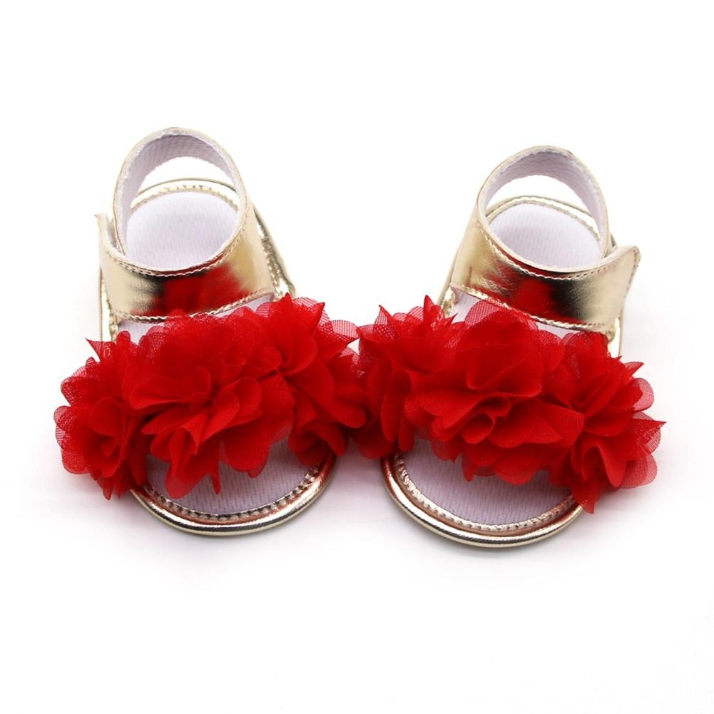 Summer Sweet Newborn Baby Girls Princess  Flower First Walkers Soft Soled Infant Toddler Kids Girl Footwear Shoes
