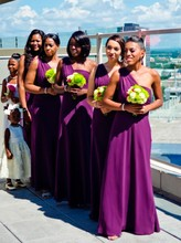 2017 Gorgeous One-shoulder Long Chiffon Purple Cheap African Bridesmaid Dress/Wedding Party Dress for Black Girl