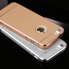 Luxury Gold Electroplate 3 in 1 Hard Case For iphone 5 5S SE Shockproof Armor Cover For iphone SE 5 5S Phone Bags Capa Fundas