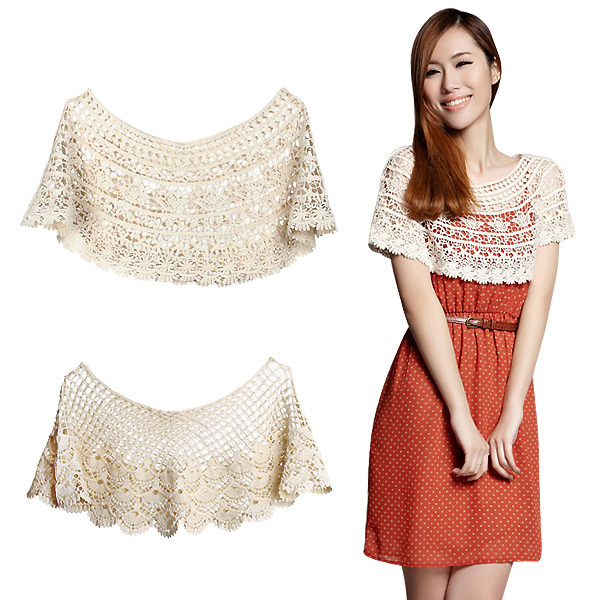 Women Vintage Handmade Lace Hollow Out Crochet Lace Blouse Small Cape Shawl Fashion Beige Blous XY6079