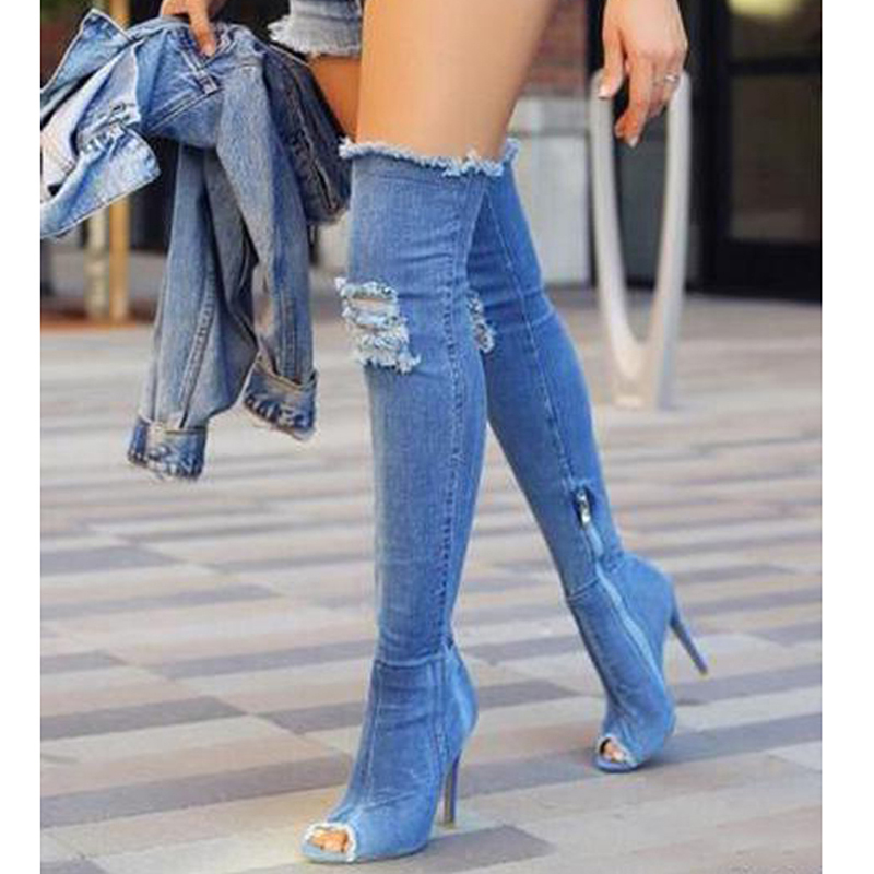 hongyi Denim Over The Knee Boots Shoes Woman Thigh High Boots Ripped Distressed Denim Jeans Boots Open Peep Toe Women Heels
