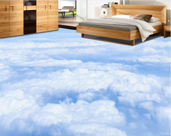 3d stereoscopic wallpaper 3d blue sky and white clouds 3d for Bathroom floor mural sky
