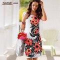 Дамы летнее платье Повседневная Женщины Платье винтаж Печати Цветочные Рукавов офис платье bodycon плюс размер женская одежда