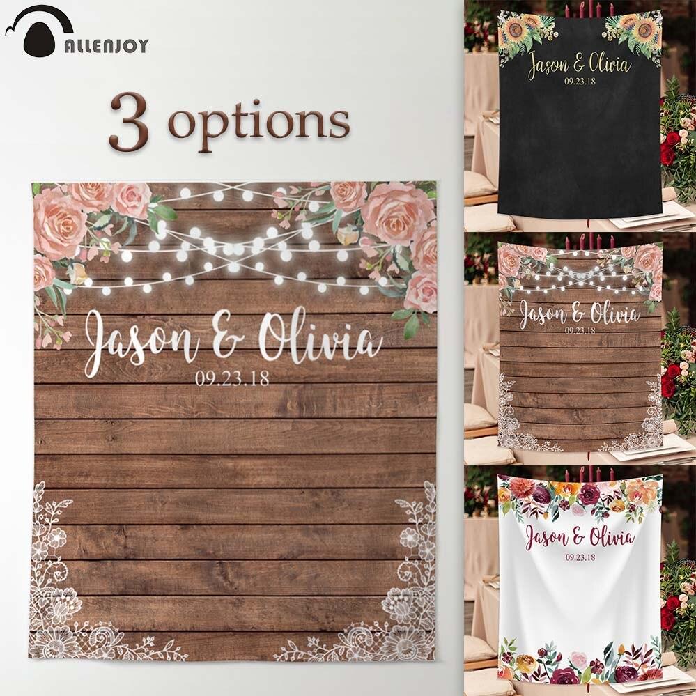 Allenjoy wedding banner backdrop photography wood flower decor signage backdground photocall photophone econ polyester customBackground   -