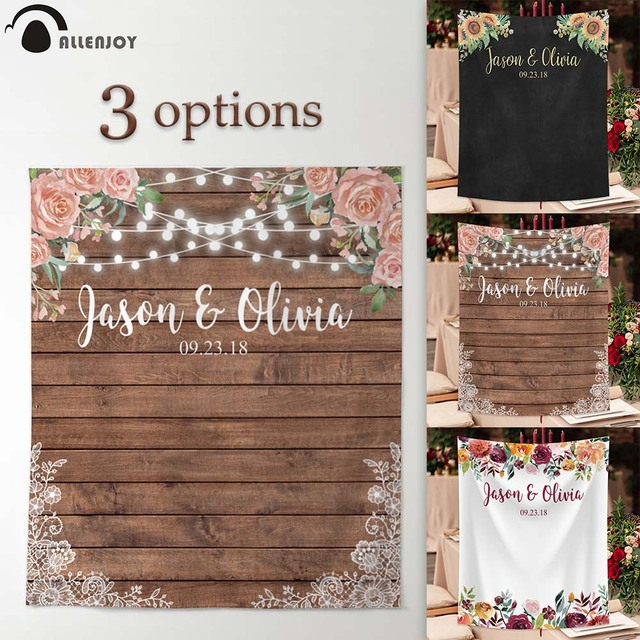 Allenjoy wedding banner backdrop photography wood flower decor signage backdground photocall photophone econ polyester custom