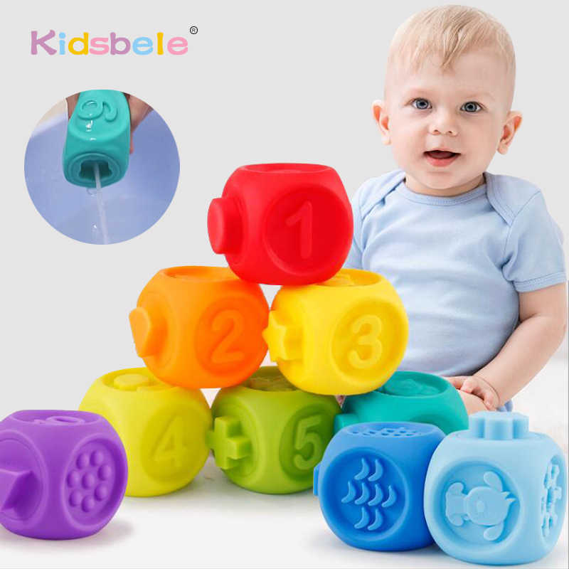10PCS Baby Grasp Ball 3D Animals Number Shape Touch Soft Rubber Teether Squeeze Spray Bath Toys For Infant Early Education