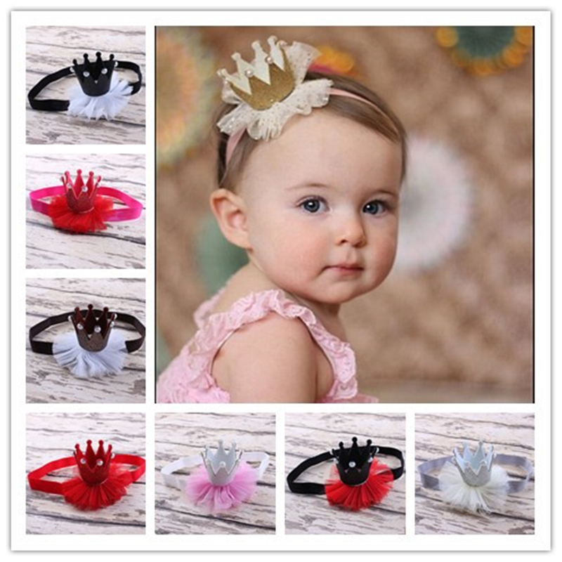 Baby Pearl Crown Hair Bands For Girls Baby Shiny Cute Princess Baby Crown Accessories  Elastic Ribbon Headdress Party Hair