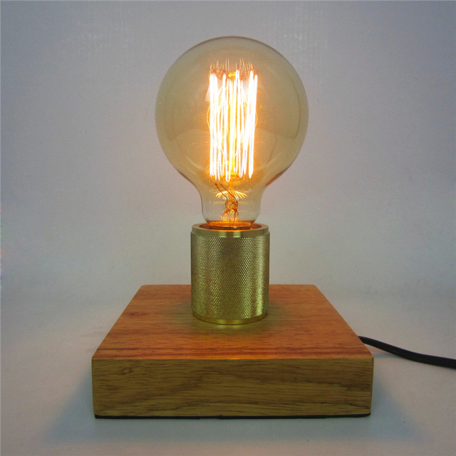 E27 Nordic Wooden Table Lamps Edison Antique Light Decorative Fixtures Creative Retro Square