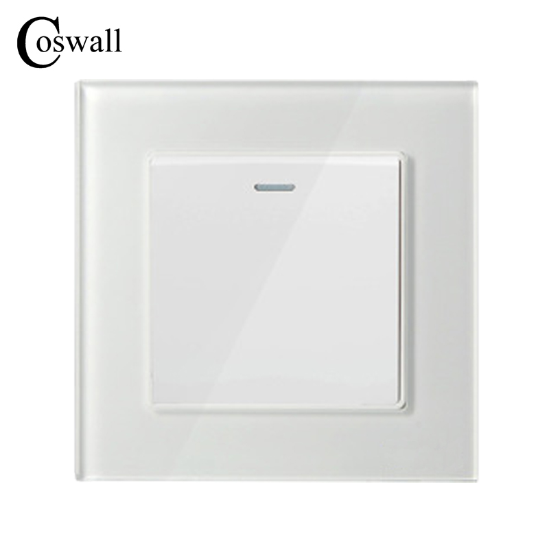 COSWALL 1 Gang 1 Way Luxury Crystal Glass Panel Light Switch Push Button Wall Switch Interruptor 16A 2017 free shipping smart wall switch crystal glass panel switch us 2 gang remote control touch switch wall light switch for led