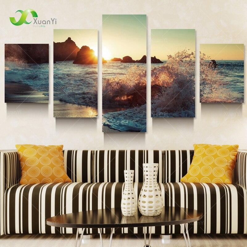 5 Panel Kətan Dəniz Dalğaları Rəsm Şəkilləri Rooom - Ev dekoru - Fotoqrafiya 1
