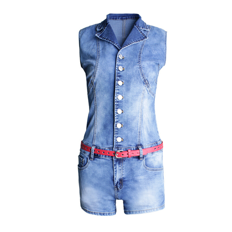 Summer Women's Skinny Single-breasted Light Blue Casual Overalls Sexy Washed Bleached Mid Waist Conjoined Shorts single sided blue ccs foam pad by presta