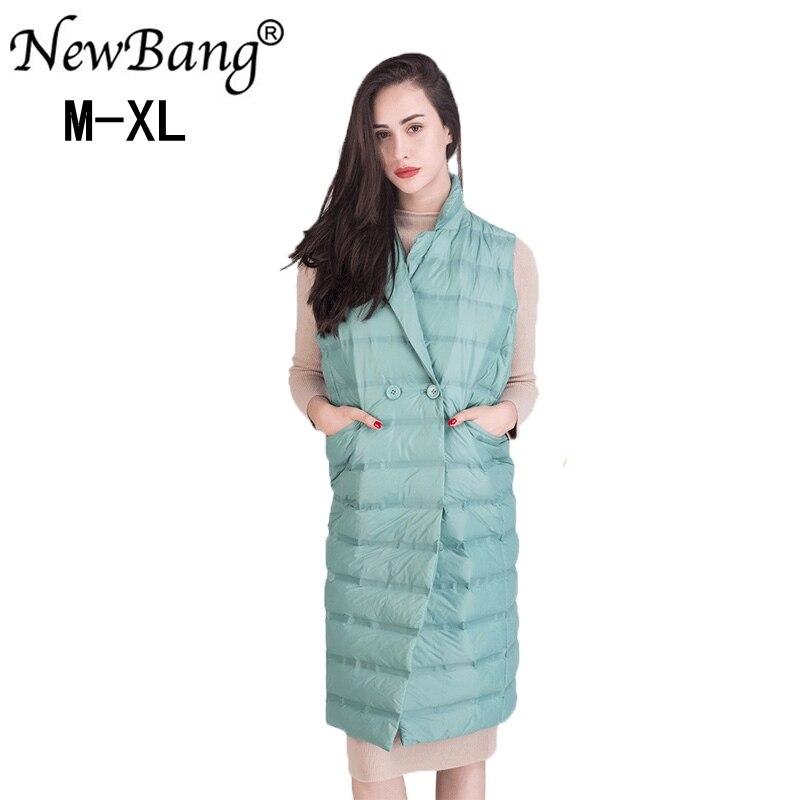 NewBang Women s Long Vest Ultra Light Down Vests Sleeveless Turn down Collar Jacket Single Breasted