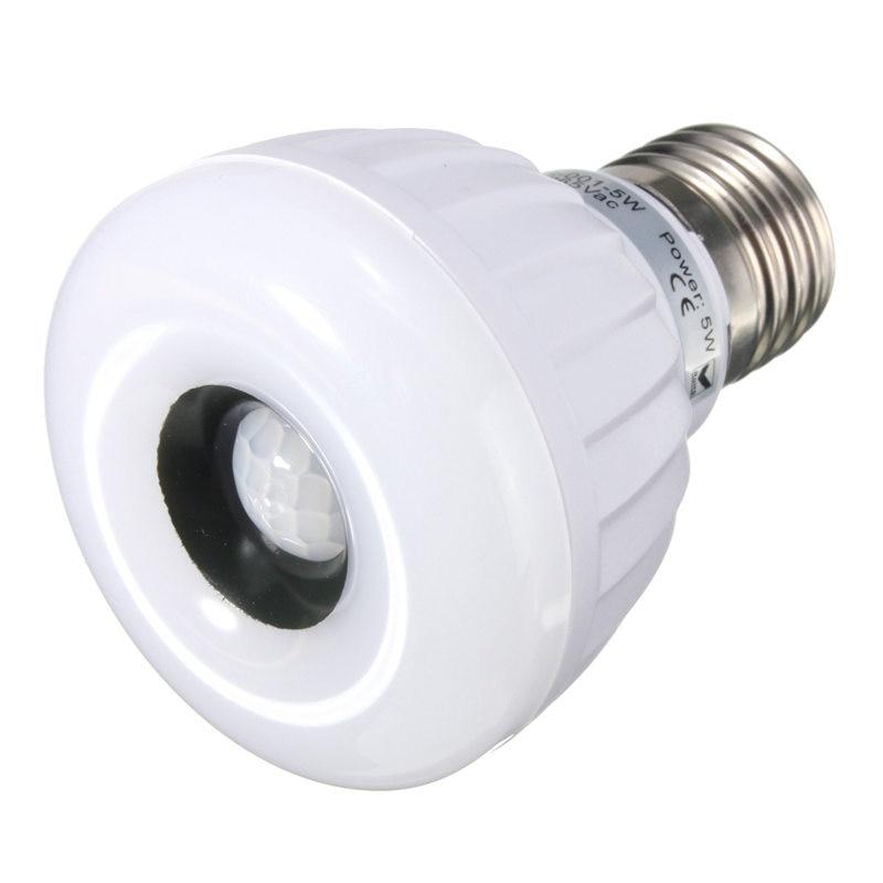 PIR Sensor LED Light Bulb E27 5W 25 3528SMD Infrared Motion Sensor Lamp Spotlight Bulb White Warm White Lighting AC220-240V af c055d e27 5 5w 420lm 3500k 90 3528 smd led warm white lamp white 8 16v