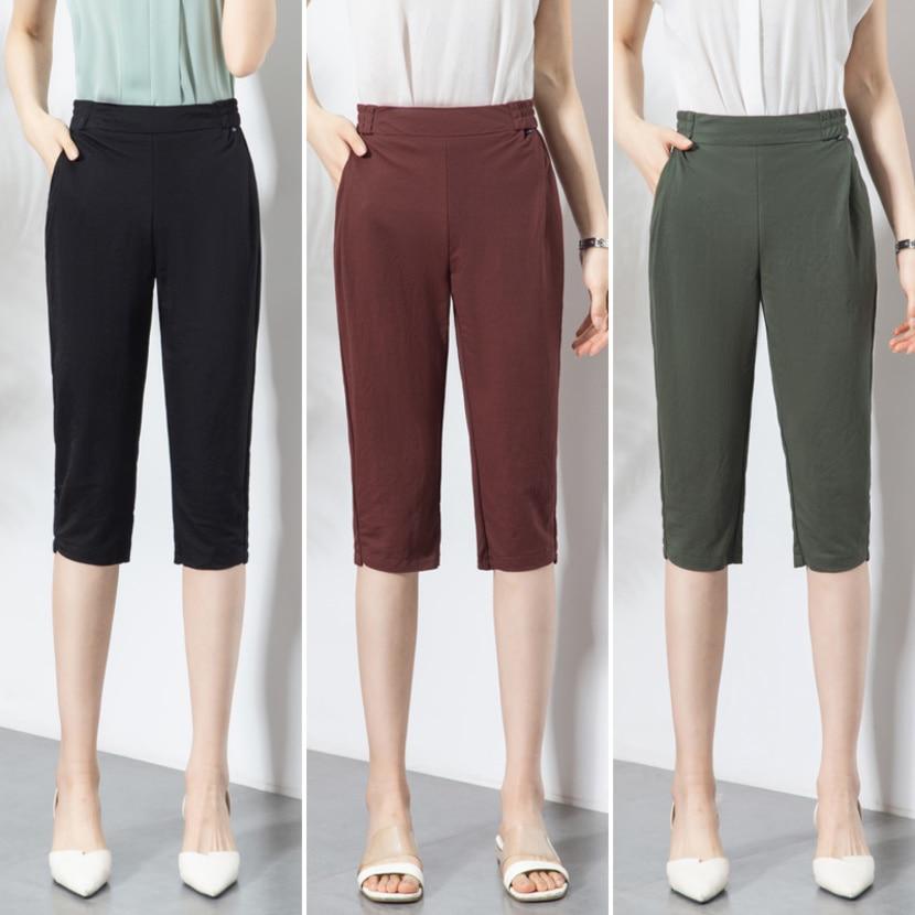 2019 Summer Thin Capri Pants Women Elastic Waist Solid Color Harem Pants Capris Trousers Pantalon Femme