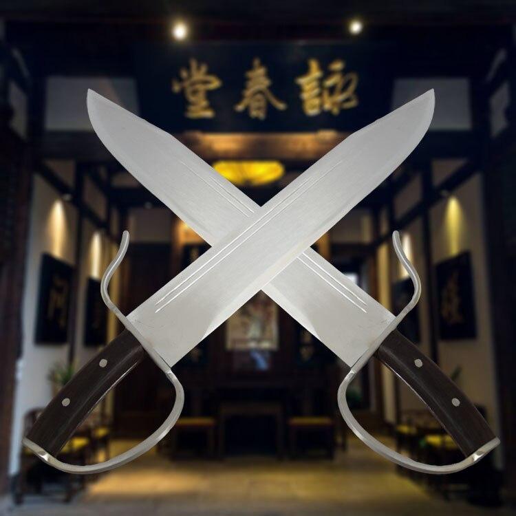 Équipements D'arts martiaux Wing chun Double Couteau Papillon Couteau Huit Bart cham dao Acier Inoxydable Double Couteaux Uncut Lame