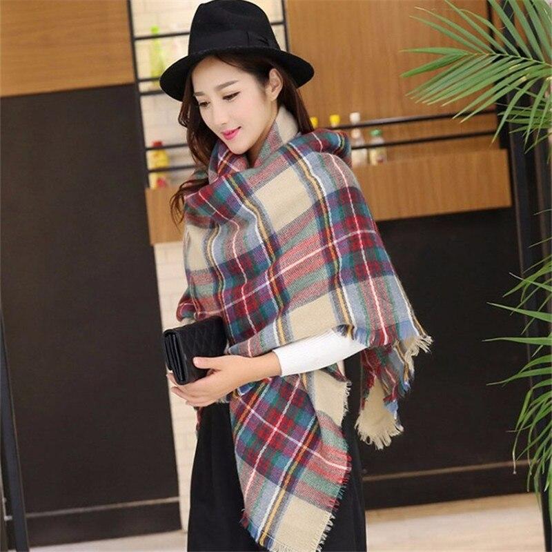 Шарф для женщин плед bufandas mujer черный теплый шарф женские зимние шарфы шали покрывало-палантин шарф роскошный бренд - Цвет: 140x140CM