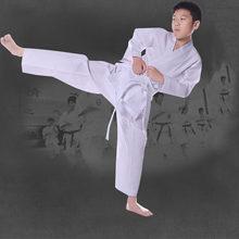 Uniforme de karate branco taekwondo uniforme terno com cinto elástico cós para crianças esportes treinamento fitness ginásio taekwondo equipamentos
