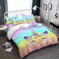 Colorful Cartoon Duvet Cover Set Lovely Unicorn Bedding Multi Color Striped Quilt Cover Girls Bedclothes Pillowcase Home Decor