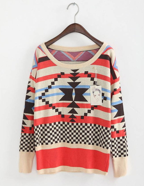Free shipping, 2016 new geometric pattern sets loose color sweater knit