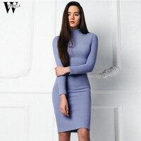 WYHHCJ 2017 New Arrival Women Autumn Winter Dress Turtlenec Knitting Warm Sheath Solid Casual Women S