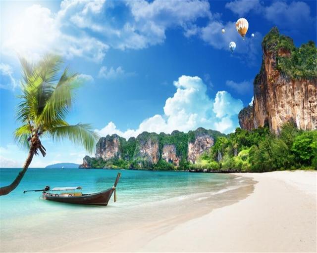 Custom 3d Photo Wallpaper Hd Maldives Sea Beach Natural: Beibehang 3D Wallpaper Mediterranean Summer Beach Coconut
